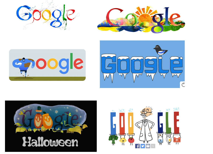 A variety of GOOGLE marks composed of the same basic feature
